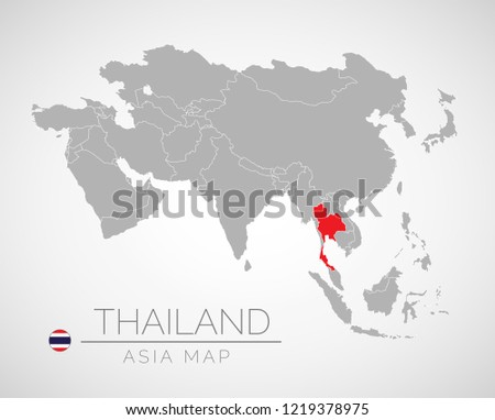 Map Asia Identication Thailand Map South Stock Vector (Royalty Free ...