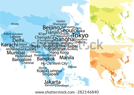 Map Of Asia Cities.Map Asia Largest Cities Carefully Scaled Stock Vector Royalty Free