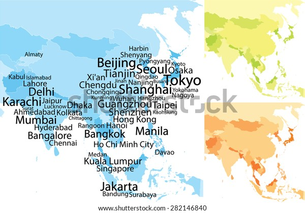 Map Of Asia Karachi.Map Asia Largest Cities Carefully Scaled Stock Vector Royalty Free