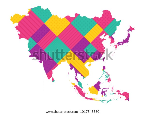 Map Of Modern Asia.Map Asia Modern Geometric Dots Lines Stock Vector Royalty Free