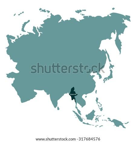 Myanmar On Map Of Asia.Map Asia Myanmar Stock Vector Royalty Free 317684576 Shutterstock