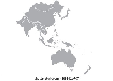 Map of Asia Pacific.Vector illustration