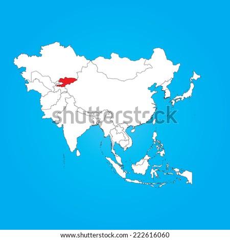 Map Of Asia Kyrgyzstan.Map Asia Selected Country Kyrgyzstan Stock Vector Royalty Free