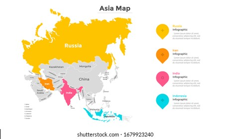 Map of Asia. Territory of Asian continent divided by country borders. Geographic location indication. Modern infographic design template. Vector illustration for touristic website, statistical report.