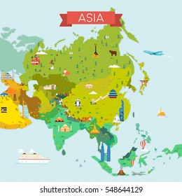 Map of Asia. Travel and tourism background. Vector flat illustration