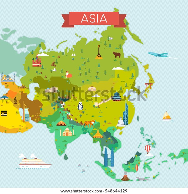 Map Asia Travel Tourism Background Vector Stock Vector (Royalty Free ...