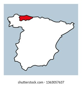 Map of Asturias, Spain. Outline. Hand drawn. Asturias indicated in red on a map of Spain.