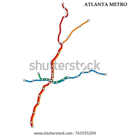 Map Atlanta Metro Subway Template City Stock Vector Royalty Free
