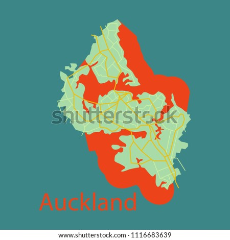 Map Auckland New Zealand Flat Illustration Stock Vector (Royalty ...
