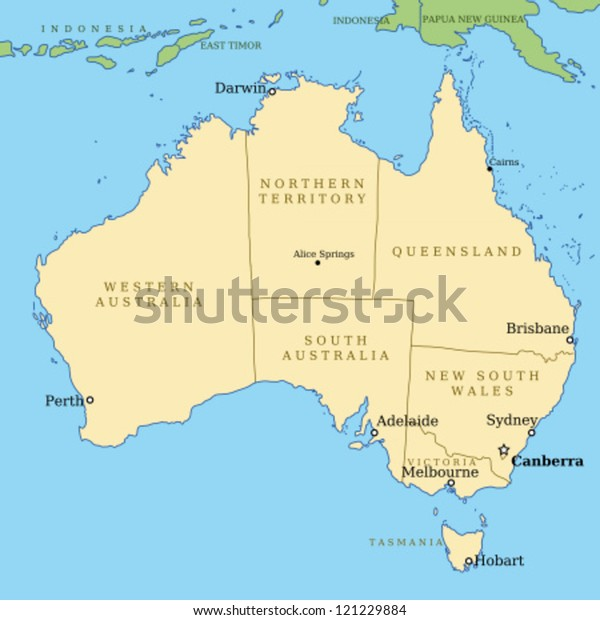 Map Australia All Important Cities Administrative Stock ...