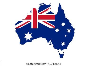 Map of Australia in Australian flag colors