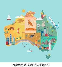 Map of Australia. Colorful landmarks. Vector illustration