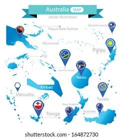 Map of Australia. Country. flag pointer. vector Illustration.