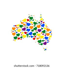 map of australia filled with hearts of different sizes and colors of rainbow