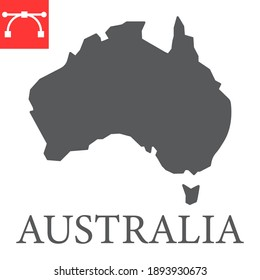 Map of Australia glyph icon, country and geography, australia map sign vector graphics, editable stroke solid icon, eps 10