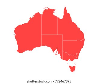 Map of Australia - High detailed red map on white background. Abstract design vector illustration eps 10.
