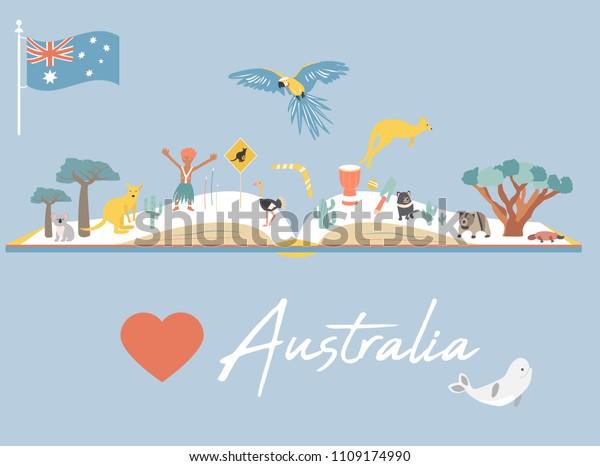 Map Of Australia Landmarks.Map Australia Landmarks Wildlife Love Australia Stock Vector