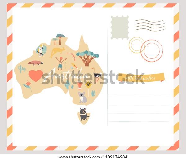 Map Of Australia With Landmarks.Map Australia Landmarks Wildlife Travel Card Stock Vector Royalty