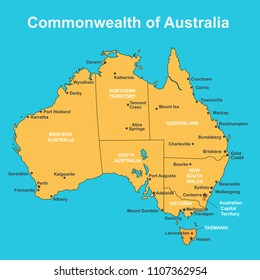 map of australia with major towns and cities vector illustration