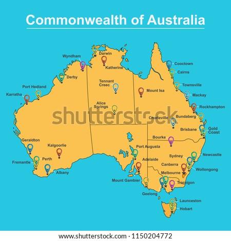Australia Map Major Cities.Map Australia Major Towns Cities Vector Stock Vector Royalty Free