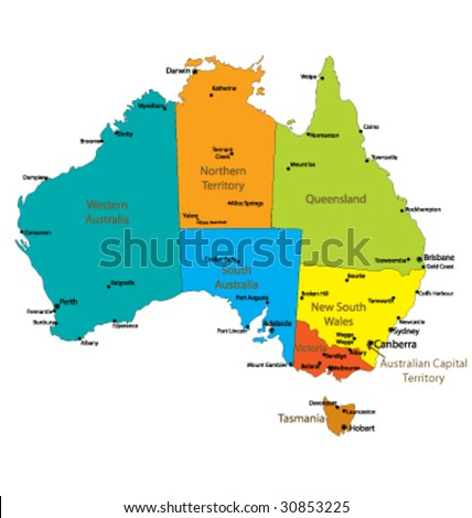 Map Australia Major Towns Cities Each Stock Vector (Royalty Free