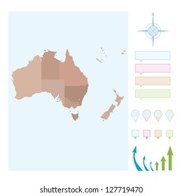 Map of Australia and New Zealand isolated.