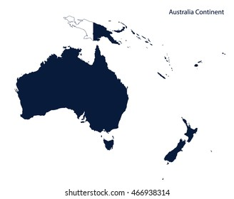 Map of Australia and Oceania continent