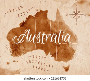 Map of Australia in old style, brown graphics in a retro style