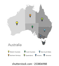 Map of Australia. Political division