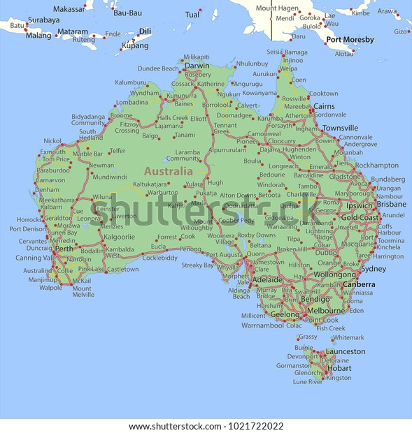 Country Map Of Australia.Map Australia Shows Country Borders Place Stock Vector Royalty Free