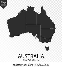 Map of Australia , vector illustration eps 10 on transparent background.
