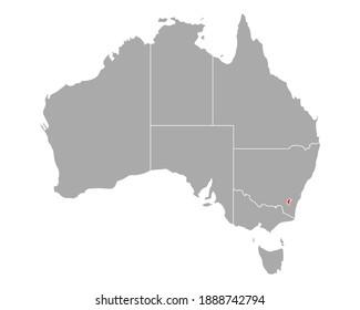 Map of Australian Capital Territory in Australia on white