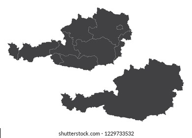 Map - Austria Couple Set , Map of Austria ,Vector illustration eps 10.