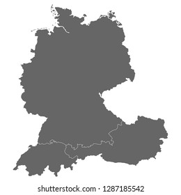 Map of Austria, Germany and Switzerland