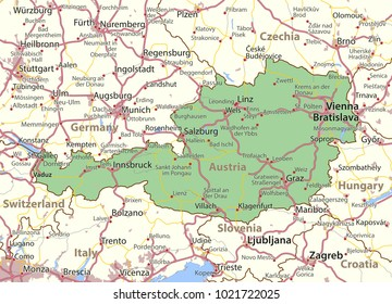 Map of Austria. Shows country borders, urban areas, place names and roads. Labels in English where possible.Projection: Mercator.