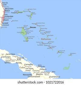Map of Bahamas. Shows country borders, urban areas, place names and roads. Labels in English where possible.Projection: Mercator.
