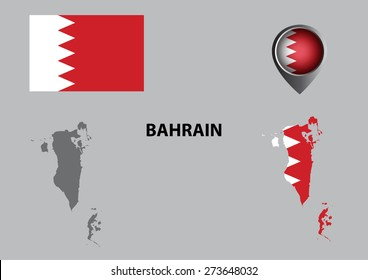 Map of Bahrain and symbols.