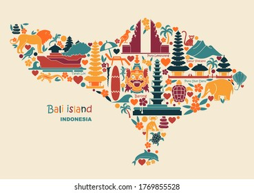 Map of Bali Islands, Indonesia with traditional symbols of architecture, culture and nature