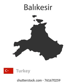 Map of Balikesir and the flag of Turkey. Vector illustration.