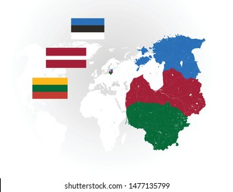 Map of Baltic states with rivers and lakes, national flags of Baltic states and world map as background.