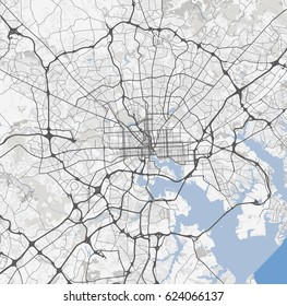 Map Baltimore city. Maryland Roads