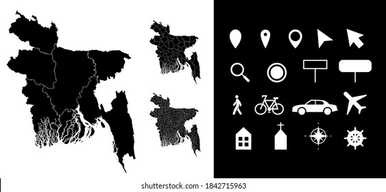Map of Bangladesh administrative regions departments with icons. Map location pin, arrow, looking glass, signboard, man, bicycle, car, airplane, house. Royalty free outline Bangladeshi vector map.