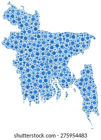Map of Bangladesh - Asia - in a mosaic of blue bubbles
