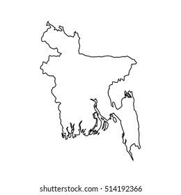 Map of Bangladesh  black outline