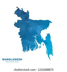 Map of Bangladesh. Blue geometric polygon map.