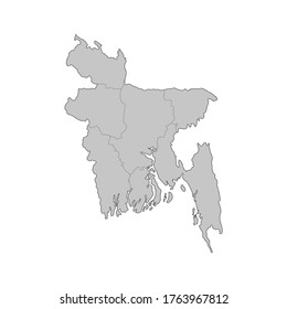 Map of Bangladesh divided to regions. Outline map. Vector illustration.