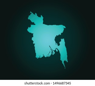 Map of Bangladesh green vector isolated on dark background. High detailed green vector map, Bangladesh symbol for your web site design map - Vector illustration eps 10.