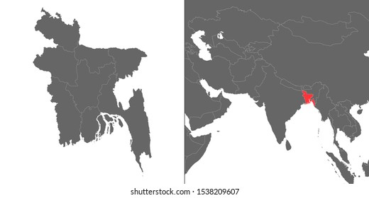 Map of Bangladesh with location on asian map