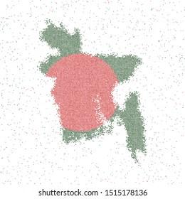 Map of Bangladesh. Mosaic style map with flag of Bangladesh. Vector illustration.