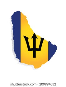 map of barbados with the image of the national flag
